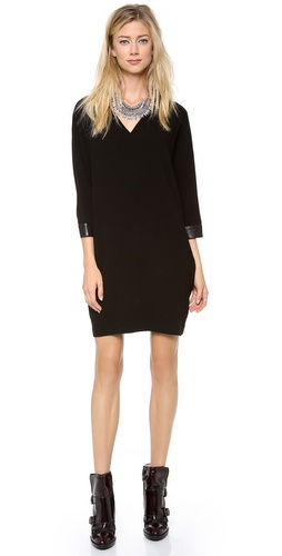 DKNY V Neck Dress with Leather Cuffs at Shopbop / East Dane