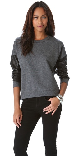DKNY Leather Sleeve Pullover at Shopbop / East Dane
