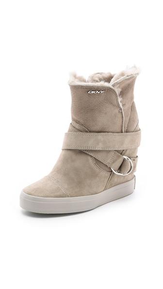 DKNY Great Shearling Sneaker Booties
