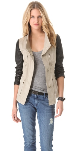 DKNY Pure DKNY Cargo Jacket with Leather Sleeves at Shopbop.com