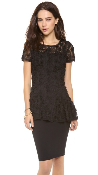 DKNY Short Sleeve Peplum Top