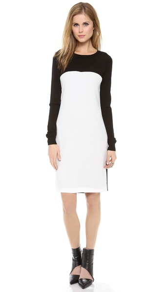 Dkny Colorblock Long Sleeve Dress - Black/White at Shopbop / East Dane