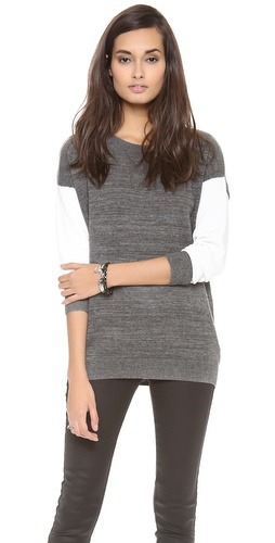 DKNY Long Sleeve Crew Neck Colorblock Pullover at Shopbop / East Dane