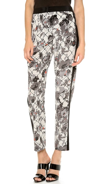 Dkny Pleat Front Pants With Inserts - Pearl/Multi/Black at Shopbop / East Dane
