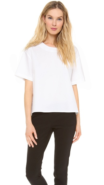 Dkny Short Sleeve Blouse With Peplum Back - White at Shopbop / East Dane