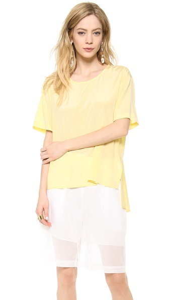 Dkny Short Sleeve Blouse With Peplum Back - Pale Yellow at Shopbop / East Dane