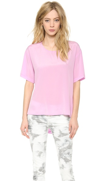 DKNY Short Sleeve Blouse with Peplum Back
