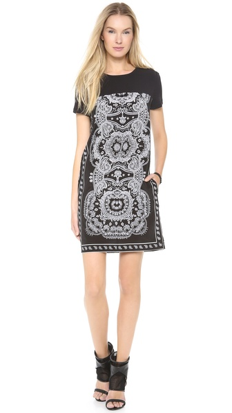 Dkny Short Sleeve Dress - Black/White at Shopbop / East Dane