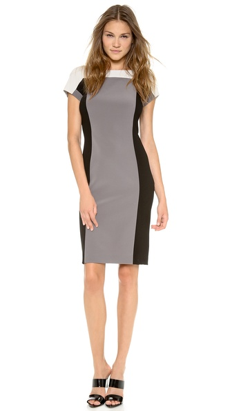 Dkny Colorblock Short Sleeve Dress - Techno/Black/Pearl at Shopbop / East Dane