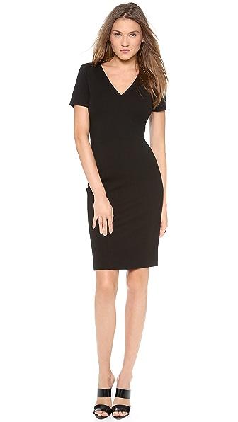 DKNY Cross Front V Neck Sheath Dress