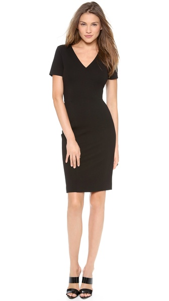 Dkny Cross Front V Neck Sheath Dress - Black at Shopbop / East Dane