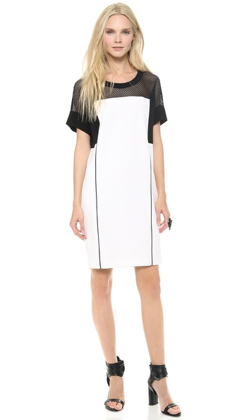 DKNY Colorblock Short Sleeve Shift Dress