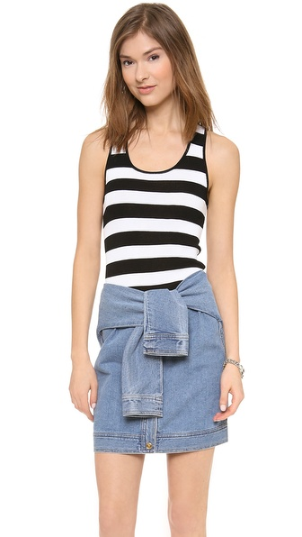 DKNY Striped Racer Back Tank