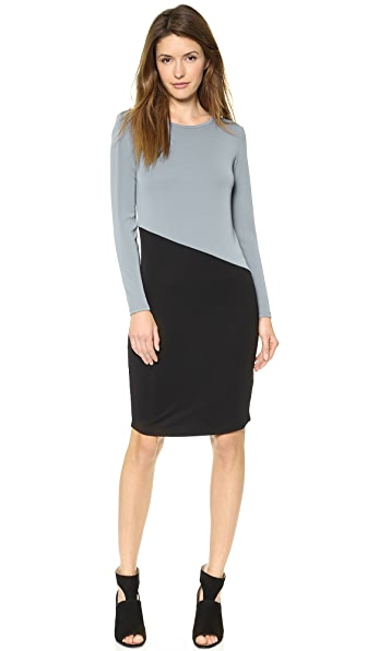 DKNY Colorblocked Long Sleeve Dress