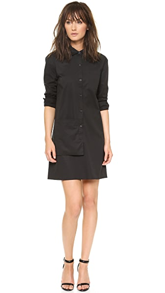 DKNY Long Sleeve Button Thru Shirtdress