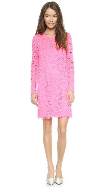 DKNY Long Sleeve Shift Dress with Scalloped Hem