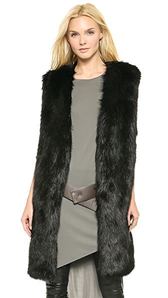 DKNY Faux Fur Collarless Long Vest