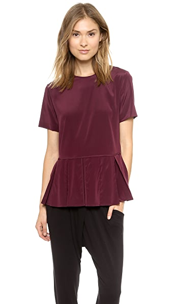 DKNY Blouse with Pleated Peplum