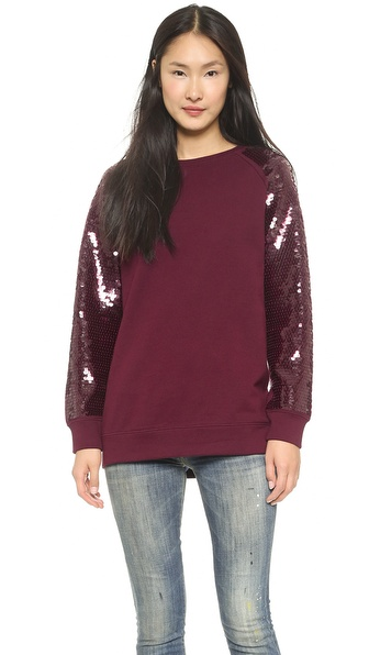DKNY Raglan Sleeve Pullover with Sequin Sleeves