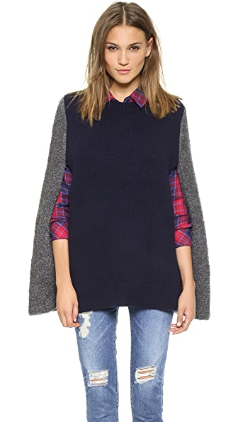 DKNY Colorblocked Crew Neck Cape