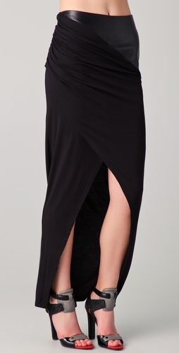 David Lerner Maxi Skirt with Leather Waist