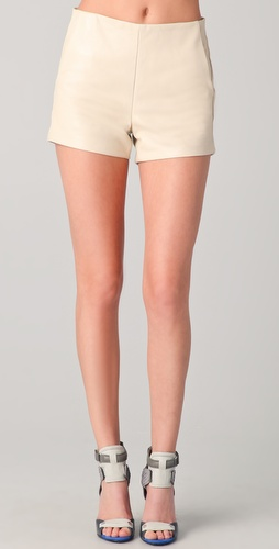 David Lerner High Waisted Leather Shorts