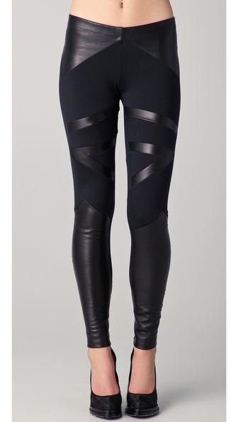 David Lerner Tribal Leather Insert Leggings