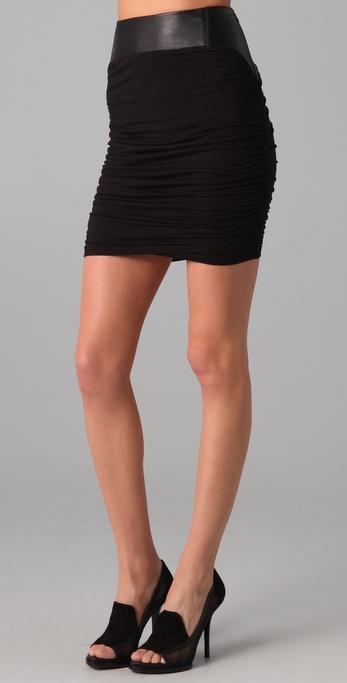 David Lerner Black & Black Skirt with Leather Trim