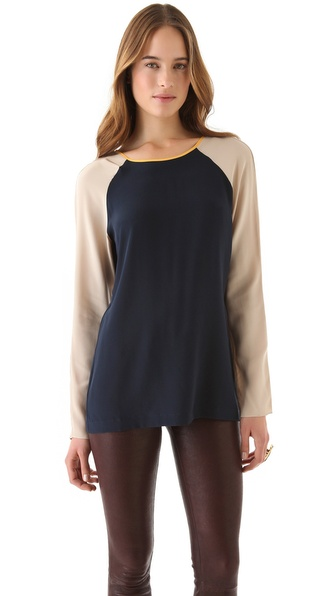 David Lerner Keyhole Colorblock Top