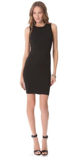 David Lerner Mini Dress with Leather Shoulders