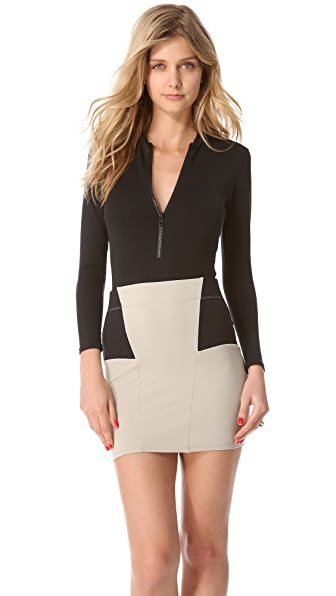 David Lerner Long Sleeve Zip Bodysuit