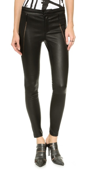 David Lerner Leather Pants with Stitch Detail