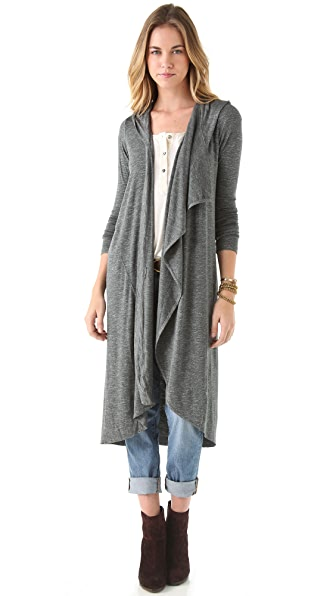Dolan Asymmetrical Hooded Maxi Cardigan