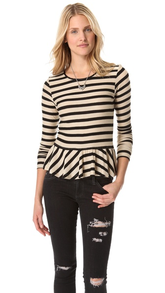 Dolan Long Sleeve Peplum Sweater