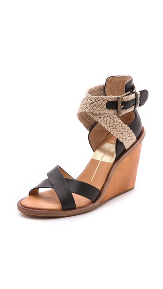 Dolce Vita Jarona Wedge Sandals - Black at Shopbop / East Dane