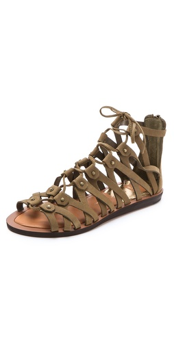 Kupi Dolce Vita cipele online i raspordaja za kupiti Intersecting suede straps create rich texture on lace-up Dolce Vita gladiator sandals. Covered back zip.  Leather: Calfskin. Imported, China. This item cannot be gift-boxed. - Moss