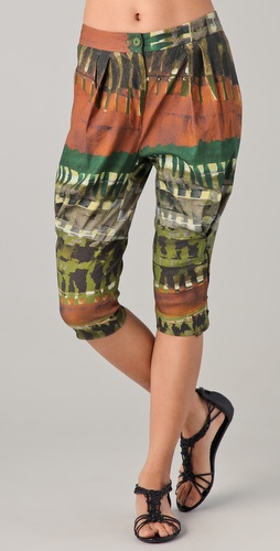 Donna Karan Casual Luxe Tribal Print Cropped Pants