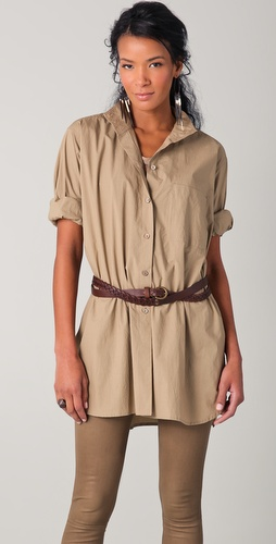 Donna Karan Casual Luxe Oversized Shirt with Open Back