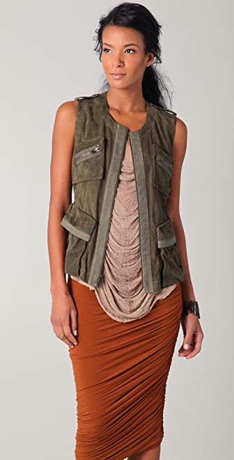 Donna Karan Casual Luxe Suede Utility Vest