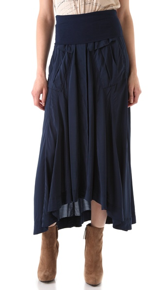 Donna Karan Casual Luxe Button Front Maxi Skirt