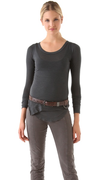 Donna Karan Casual Luxe Double Layered Long Sleeve Top