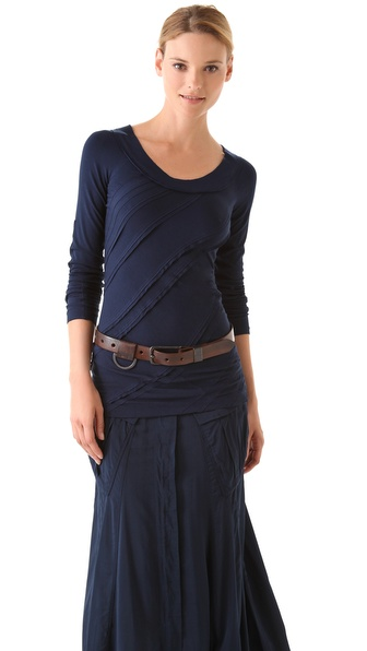 Donna Karan Casual Luxe Long Sleeve Patchwork Tee