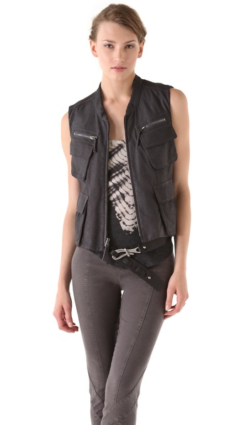 Donna Karan Casual Luxe Zip Leather Vest