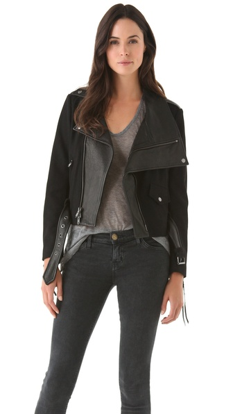 Donna Karan Casual Luxe Felt & Leather Jacket