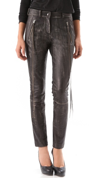 Donna Karan Casual Luxe Leather & Jersey Pants