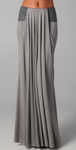 Doo.Ri Long Draped Skirt with Leather Trim