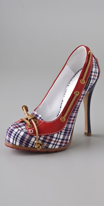 DSQUARED2 Love Boat Plaid Pumps on Hidden Platform