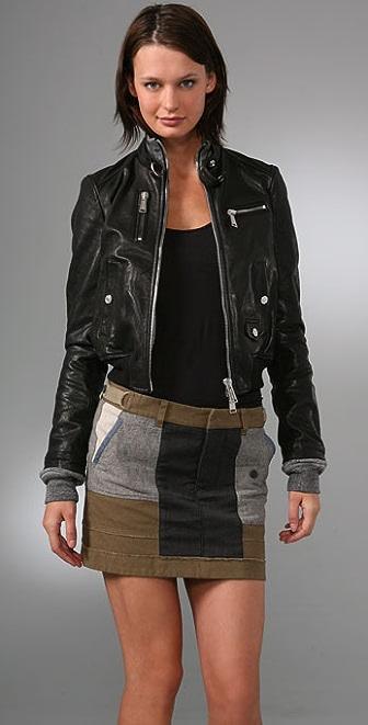DSQUARED2 Leather Double Edge Aviator Jacket
