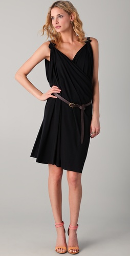 DSQUARED2 Draped Dress with Brown Belt