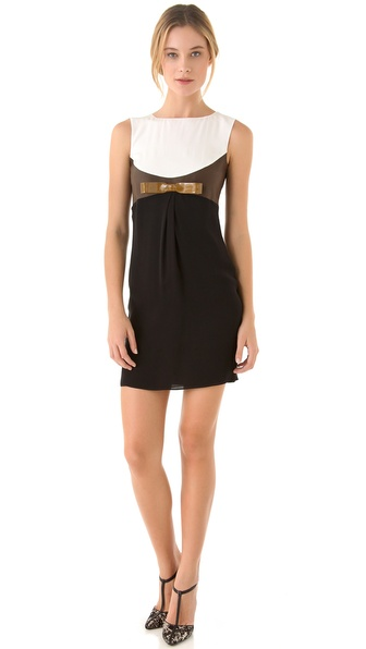 DSQUARED2 Lou Bow Dress with Leather Trim